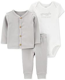Baby Boys or Girls 3-Pc. Cardigan, Bodysuit & Pants Set