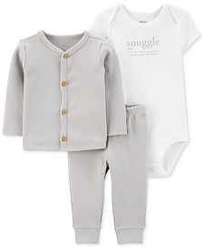 Carter's Baby Boys or Girls 3-Pc. Cardigan, Bodysuit & Pants Set