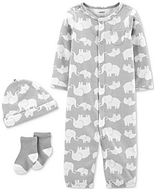 Baby Boys & Girls 3-Pc. Elephant-Print Coverall, Hat & Socks Cotton Set