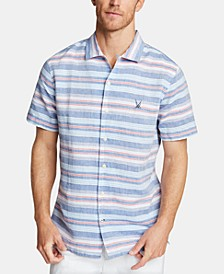 Men's Blue Sail Classic Fit Stripe Camp Collar Shirt, Created for Macy's