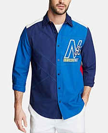 Men's Blue Sail Classic Fit Colorblocked Embroidered Logo Poplin Shirt, Created for Macy's