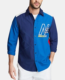 Nautica Men's Blue Sail Classic Fit Colorblocked Embroidered Logo Poplin Shirt, Created for Macy's