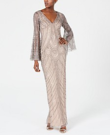 Embellished Bell-Sleeve Gown