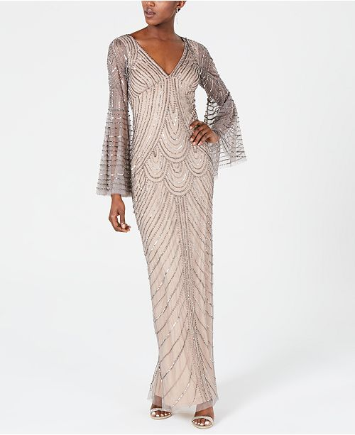 Adrianna Papell Embellished Bell-Sleeve Gown