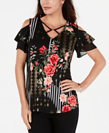 JM Collection Printed Criss-Cross Cold-Shoulder Top, Created for Macy's