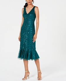 Adrianna Papell Embellished Flounce Midi Dress