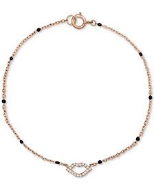 Giani Bernini Cubic Zirconia Rainbow Lip Bead Bracelet in 18k Rose Gold-Plated Sterling Silver, Created for Macys