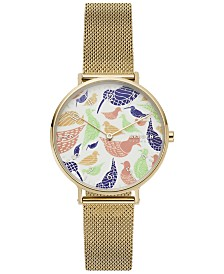 Skagen Women's Aaren Gold-Tone Stainless Steel Mesh Bracelet Watch 36mm Created for Macy's