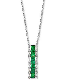 "EFFY® Emerald (9/10 ct. t.w.) & Diamond (1/10 ct. t.w.) 18"" Pendant Necklace in 14k White Gold"