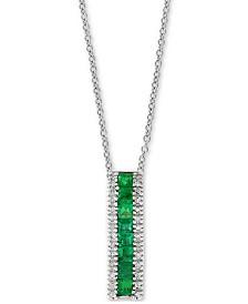 """EFFY® Emerald (9/10 ct. t.w.) & Diamond (1/10 ct. t.w.) 18"""" Pendant Necklace in 14k White Gold"""