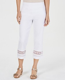 JM Collection Petite Crochet-Trim Capri Pants, Created for Macy's