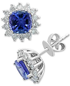 EFFY® Tanzanite (1-9/10 ct. t.w.) & Diamond (5/8 ct. t.w.) Stud Earrings in 14k White Gold