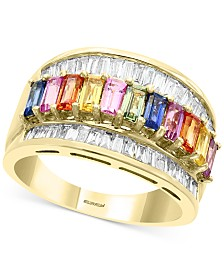 EFFY® Multi-Sapphire (1-5/8 ct. t.w.) & Diamond (1/2 ct. t.w.) Statement Ring in 14k Gold
