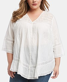 Plus Size Cotton Lace-Inset Top