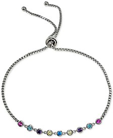 Giani Bernini Cubic Zirconia Rainbow Bezel Bolo Bracelet in Sterling Silver, Created for Macy's