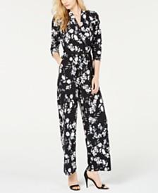 Calvin Klein Floral-Print Drawstring Jumpsuit