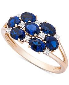 Sapphire (1-3/4 ct. t.w) & Diamond (1/10 ct. t.w.) Statement Ring in 14k Gold