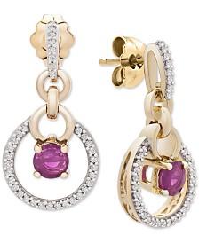 Certified Ruby (3/8 ct. t.w.) & Diamond (1/6 ct. t.w.) Drop Earrings in 14k Gold