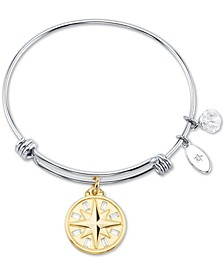 Clear Crystal Compass Rose Charm Bangle Bracelet in Silver-Plated Stainless Steel & Gold Tone