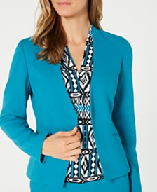 Calvin Klein Petite Asymmetrical Open-Front Crepe Jacket