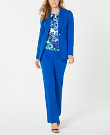 Calvin Klein Shawl-Collar Jacket, Printed Top & Straight-Leg Pants
