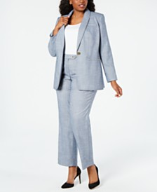 Calvin Klein Plus Size One-Button Jacket & Pants