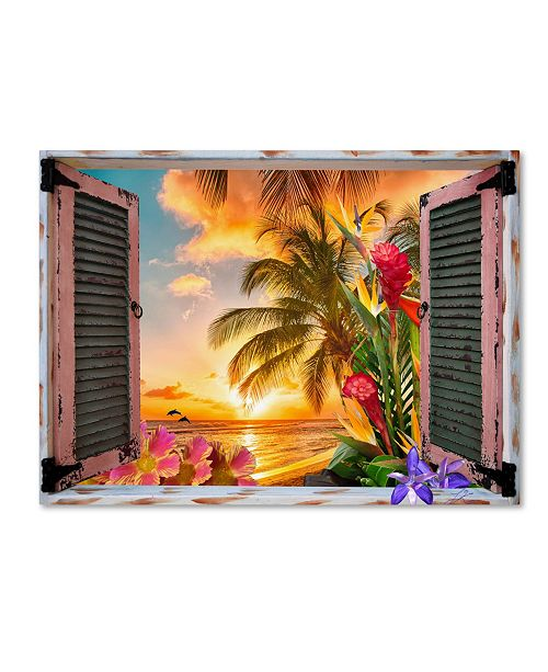 "Trademark Global Leo Kelly 'Tropical Window to Paradise II' Canvas Art - 14"" x 19"""