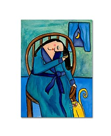 "Wyanne 'Big Diva Combing Her Hair At Midnight' Canvas Art - 14"" x 19"""