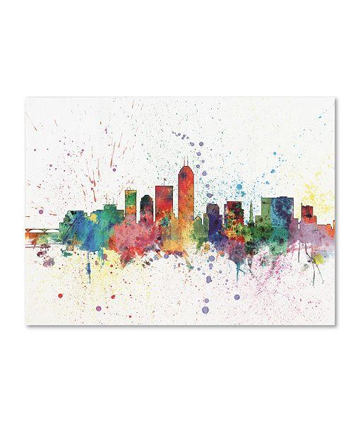 "Trademark Global Michael Tompsett 'Indianapolis Indiana Skyline II' Canvas Art - 14"" x 19"""