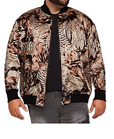Men's Big & Tall MVP Collections Satin Animal/Feather Print Bomber Jacket