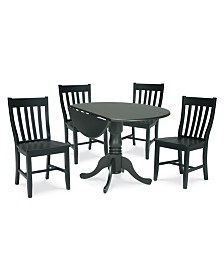 """International Concepts 42"""" Dual Drop Leaf Table With 4 Schoolhouse Chairs"""