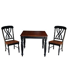 International Concepts 36X36 Dining Table With 2 Lattice Back Chairs