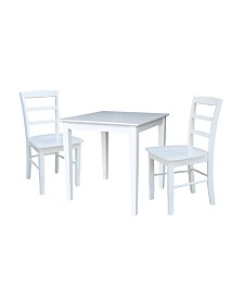 International Concepts 30X30 Dining Table With 2 Ladder Back Chairs