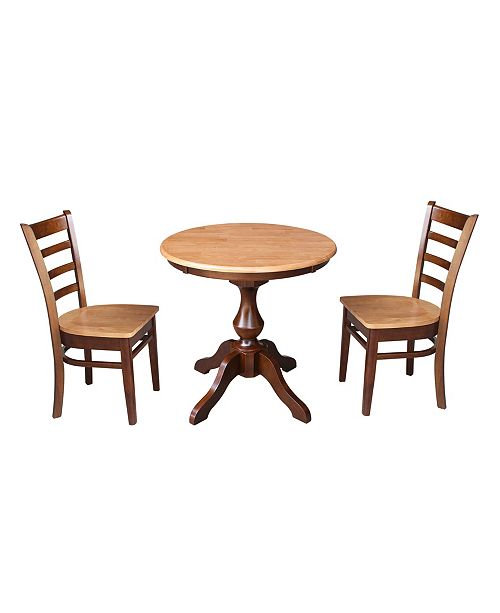 "WHITEWOOD INDUSTRIES/INTNL CONCEPTS International Concepts 30"" Round Top Pedestal Table- With 2 Chairs"