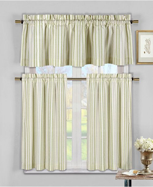 Duck River Textile Xandra 3-Piece Striped Kitchen Curtain Set