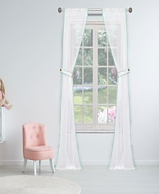 "Aveline 38"" x 84"" Pompom Trim Curtain Set with Tieback"