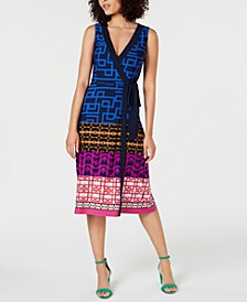 Sleeveless Printed Wrap Dress