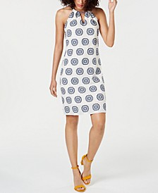 Printed Halter Cotton Shift Dress