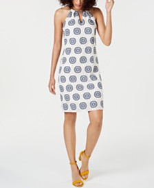 Trina Turk Printed Halter Cotton Shift Dress