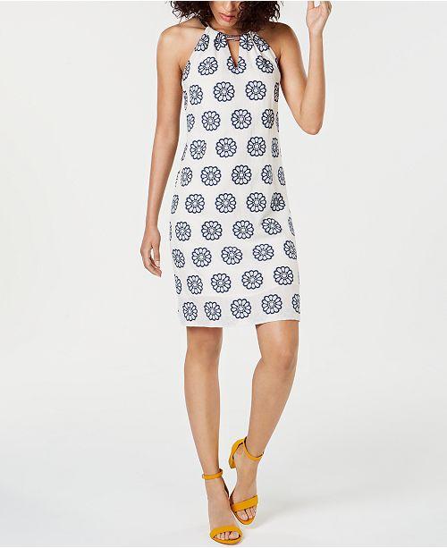 Trina Turk Printed Halter Cotton Shift Dress