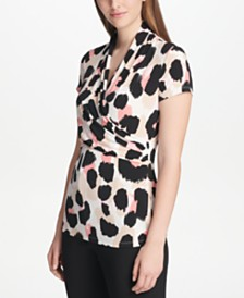 DKNY Petite Printed Side-Ruched Top