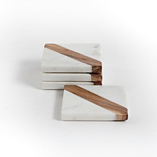 Laurie Gates White Marble & Wood Coaster Set