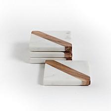 White Marble & Wood Coaster Set