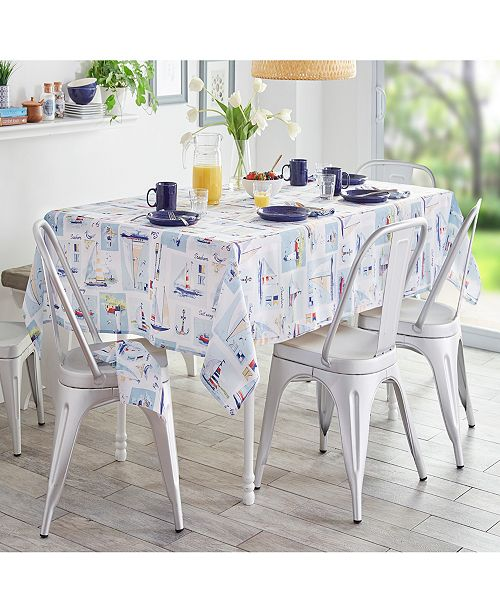 "Elrene Sail Away Stain Resistant Indoor Outdoor 60""X 120"" Tablecloth"