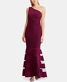 Tulle-Panel Single-Shoulder Jersey Gown