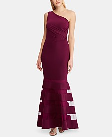 Lauren Ralph Lauren Tulle-Panel Single-Shoulder Jersey Gown
