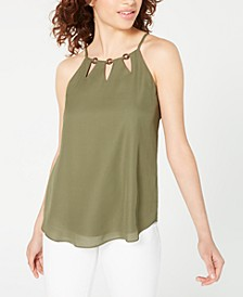 Juniors' Keyhole-Neck Top