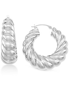 Signature Gold Diamond Accent Twist Hoop Earrings, Created for Macy's