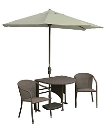 Blue Star Group TERRACE MATES 5-Pc. All-Weather Wicker Dining Sets with OFF-THE-WALL BRELLA