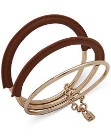 Lauren Ralph Lauren 3-Pc. Set Leather-Wrapped Bangle Bracelets